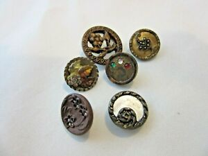 Lot Of 6 Mixed Antique Metal Buttons
