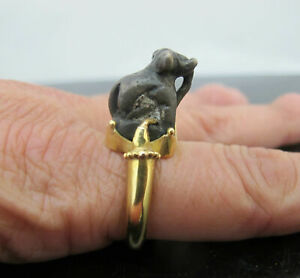 Unusual 14k Yellow Gold Bronze Elephant Asian Opium Scale Weight Ring 5 5