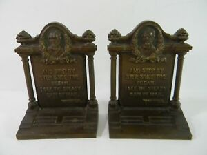 Bradley Hubbard Bookends Antique Poet Series Whitter Bust And Quote Cast Iron