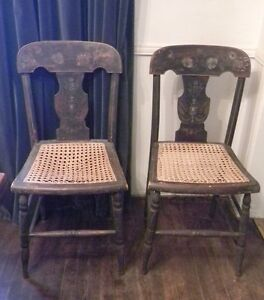 Clearance Pair Antique Federal Baltimore Side Chairs Painted 1820 Cane Seats