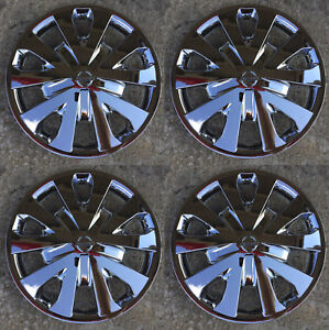 Set Of 4 Chrome 15 Hubcaps Wheelcovers Fit 2012 2017 Nissan Versa