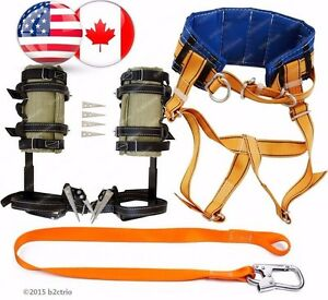 Tree Climbing Spike Set Spur Safety Harness Suddle Belt Safety Lanyard Carabiner