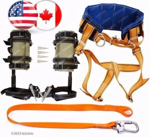 Tree Climbing Spike Set Spurs Gaffs Safety Lanyard Climbing Harness Belt Saddle