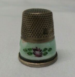 Antique Guilloche Enamel Flower Sterling Silver Thimble Germany