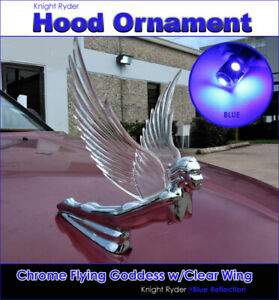 Chrome Flying Goddess Hood Ornament With Clear Wing W Blue Led Light Reflection