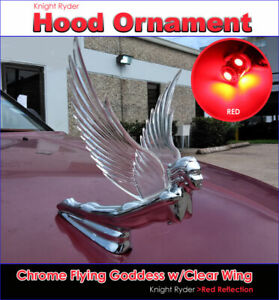 Chrome Flying Goddess Hood Ornament With Clear Wing W red Led Light Reflection