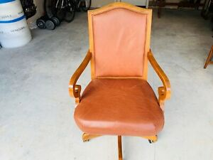 Beautiful Mid Century Modern Wood Brown Leather Executive Office Arm Chair