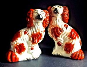 Antique Pair Of 6 Red And White Staffordshire Spaniel Dogs Circa 1850s
