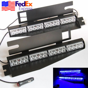 32 Led Car Suv Sun Visor Emergency Light Police Warning Blue Strobe Flasher Bar