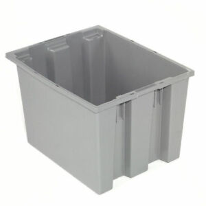 Stack And Nest Shipping Container No Lid 19 1 2x15 1 2x10 Gray Lot Of 6