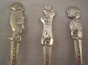 3 Old Company Plate Souvenir Spoons International Cartoon Kellogg Characters