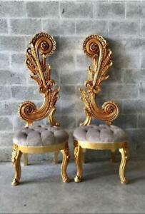 Two Italian Baroque Chairs In Tufted Velvet And Gold Leaf Finish
