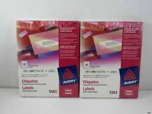 4000 Avery 5161 White Address Labels Laser 1 X 4 In 2 Packets Brand New
