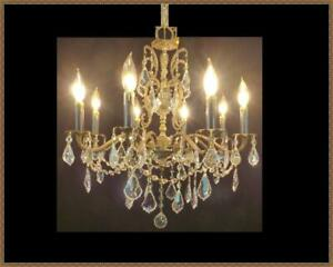 Vintage Antique European Brass Chandelier Amazing Leaded Crystals 8 Light Wow