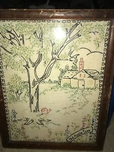 Very Old Embroidery Folk Art Called Old Apple Tree Framed