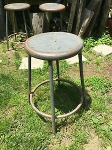 Vintage Metal Four Leg Milk Gas Garage Stool Stand Standard Steel 1950s