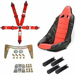 Jegs 70250k18 Pro High Back Ii Race Seat Kit Includes Black Seat Red Seat Cover