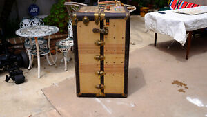 Antique Oshkosh Steamer Trunk Wardrobe Vintage Luggage Travel Train Steampunk