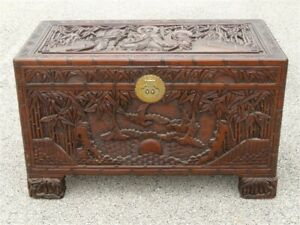 Ornate Hand Carved Figural Chinese Blanket Chest Made In China