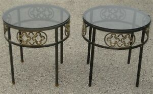 Pair Mid Century Wrought Iron Smoked Glass End Tables