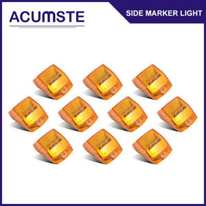 10x Amber 17 Led Cab Roof Running Top Clearance Light Assembly Lamp For Kenworth