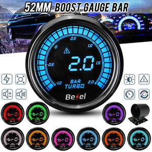 2 52mm Car Turbo Boost Pressure Press Gauge Meter Digital Led Display 1 2 Bar