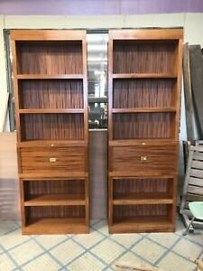 Pair Of Custom Handmade Mahogany Bookcases With Drop Down Desk Mcm Style