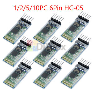 2 5 10pcs Hc 05 6pin Wireless Bluetooth Rf Transceiver Module Serial For Arduino