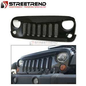 For 07 18 Jeep Wrangler Jk Gloss Black Angry Bird Mesh Front Bumper Grill Grille