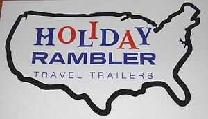 Holiday Rambler Rv Decal 6 5 X 10 5 Vintage Blue Red Letters