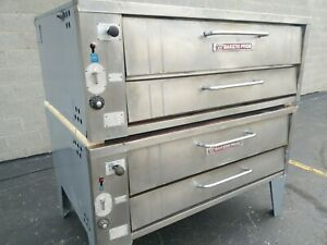 Bakers Pride 451 452 Natural Gas Double Deck Pizza Ovens Y 600 Cleaned Tested