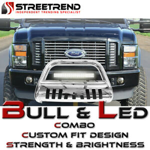 Stainless Hd Bull Bar Bumper Guard W 120w Cree Led Fog Light 11 18 Ford Explorer