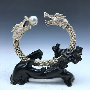 Chinese Ancient Miao Silver Bracelet Handmade Double Dragon Play Bead Image