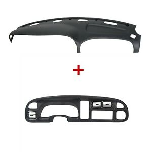 For 98 02 Dodge Ram Pickup Pp Dash Bezel Dashboard Cover Overlay W Vents