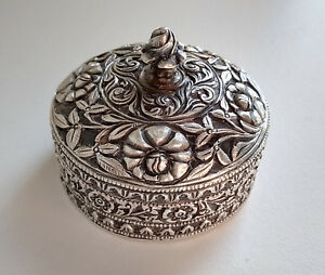 Sterling Silver Snuff Pill Box Islamic Ottoman Intricate Antique Heavily Worked