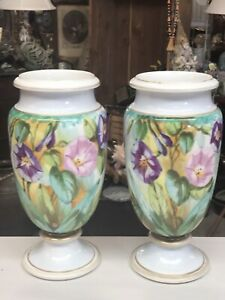Pair Large Antique Paris Porcelain Urn Vases Hand Painted Morning Glory Flowers