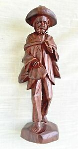 Vintage Hand Carved Wood Figure Peasant Man Mexico 7 Inches