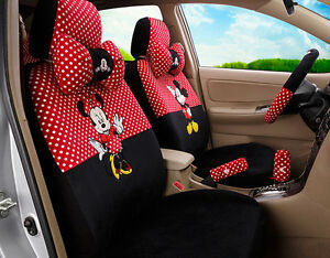 18pcs set New Women Cute Mickey Mouse Plush Cartoon Universal Car Seat Covers