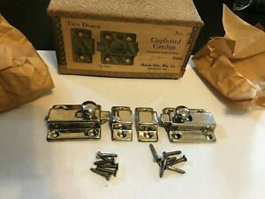 2 Nos Antique Art Deco Nickel Plate Brass Hoosier Cabinet Cupboard Door Latch