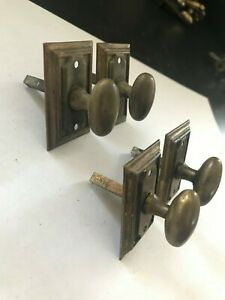 2 Pair 4 Brass Cabinet Cupboard Door Twist Turn Privacy Thumb Latch Mortise Lock