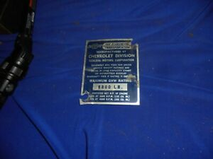 1937 1938 1939 1949 1948 1950 Truck 8800lb Chevrolet Cowl Is Tag Id Plate Trim