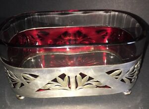 Serving Dish With Glass Insert Antique Silver Plated Art Nouveau Jardiniere