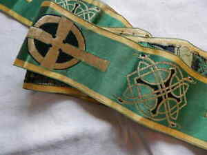 Vintage Silk Brocade Ribbon Trim Celtic Cross 68 X 3