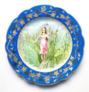 Antique Bruder Schwalb Carlsbad Hand Painted Cabinet Plate Fairy Nymph 1880s
