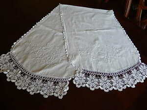 Antique Vntg Hand Embroidered White Linen Crochet Table Runner Cloth 56 X18