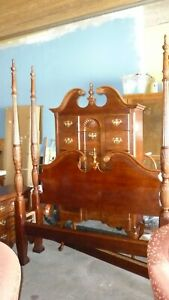 Vintage Mahogany Queen Four Poster Rice Bed Excellent