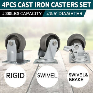 Multiple Set Of 4 Cast Iron Casters 4inch And 5 Inch Zinc Plating 1000lbs Steel