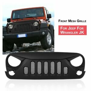 Angry Skull 2 Front Package Matte Black Mesh Grille For 07 18 Jeep Wrangler