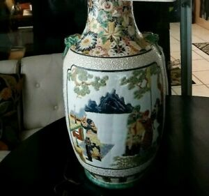 Large Vintage Chinese Republic Famille Jaune Scenic Panel Lamp Porcelain 39 T