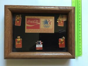 Vtg Collectible Gift~84's OLYMPICS Official COCA COLA Framed Pin Set~Free Ship